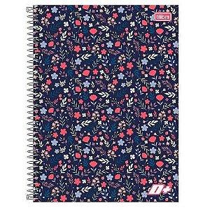 Caderno espiral capa dura universitário 10 Materias - 200 folhas - D Mais - Flores - Tilibra
