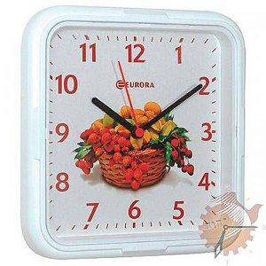Relógio de Parede Quadrado com Frutas Eurora