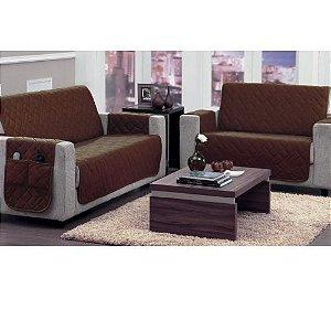 Kit Protetor de sofá 2 e 3 Lugares Marrom Tabaco - Panosul