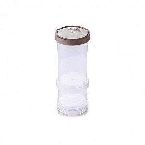 Conjunto Organizador de Plástico Empilhável com Tampa Rosca 2 Unidades  Cinza - Plasutil