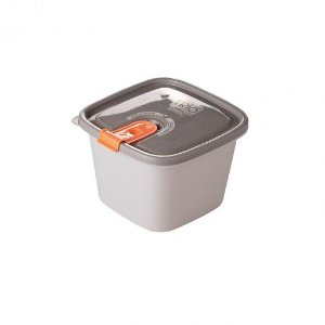 Pote de Plástico Retangular 800 ml com Tampa Fixa e Trava Trio - Plasutil