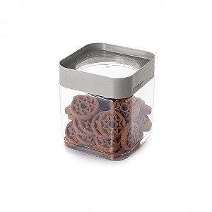 Pote de Plástico Quadrado 1,28 L Tampa Rosca Plug Cinza  - Plasutil