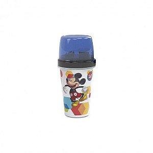 Mini Shakeira de Plástico 320 ml com Misturador, Fechamento Rosca e Sobretampa Articulável Mickey - Plasutil