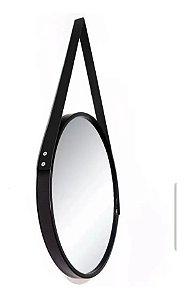 Espelho Adnet Redondo Com Alça 40 Cm Preto