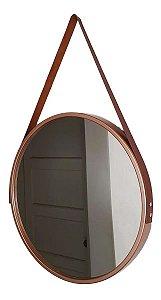 Espelho Adnet Redondo Com Alça 40 Cm Cobre