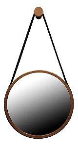 Espelho Adnet Redondo Grande 40 Cm Cobre C/ Alça Preta