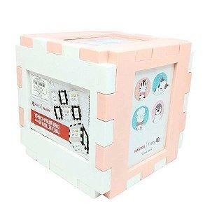 Porta Retrato Formato Cubo Para 6 Fotos 10x15 Rosa e Branco - Master