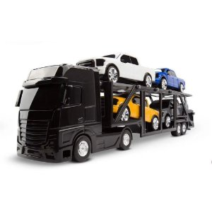 Caminhão Preto  Cegonheira Petroleum C/4 Pick-ups - Roma Brinquedos