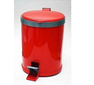 Lixeira 5 Litros Plástico Com pedal Vermelha - Viel