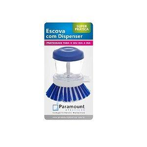 Escova lava louça com dispenser para detergente Azul - Paramount
