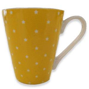 Caneca Porcelana Poá 340ml Amarelo Chá e Café  - Rocie