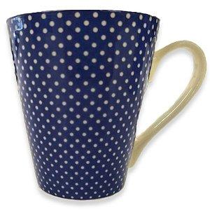 Caneca Porcelana Poá 340ml Azul Chá e Café  - Rocie