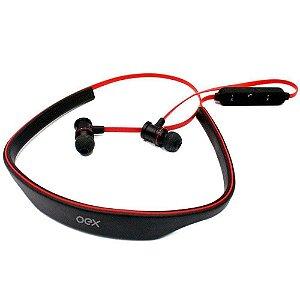 Headset Live Bluetooth HS-302 Preto e Vermelho- Oex