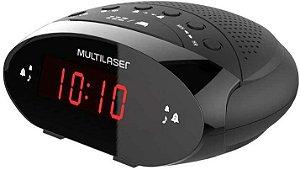Rádio Relógio Digital Alarme FM Bivolt SP352 - Multilaser