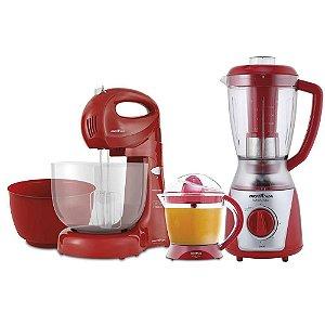 Cozinha Britânia 3 em 1 Vermelho Batedeira 350W + Espremedor 35W + Liquidificador 900W / 127V