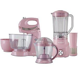 Cozinha Britânia 3 em 1 Rosa Batedeira 350W + Espremedor 35W + Liquidificador 900W / 127V