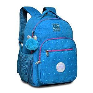 Mochila Escolar Rebecca Bonbon Azul com Pompom
