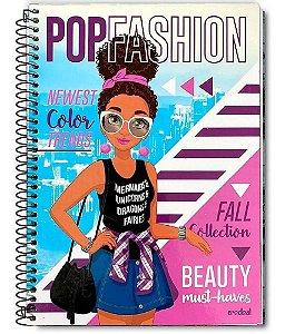 Caderno Linha Pop fashion Morena 1 Materia 96 Folhas - Credeal