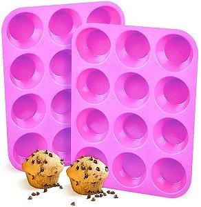 Forma de Silicone Rosa P/6 Cupcakes - Em Casa Tem