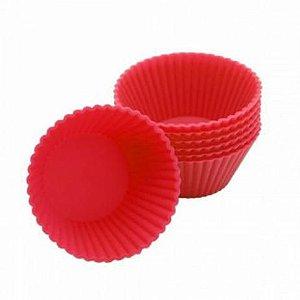 Conjunto com 6 Formas de Silicone Vermelho - Em Casa Tem