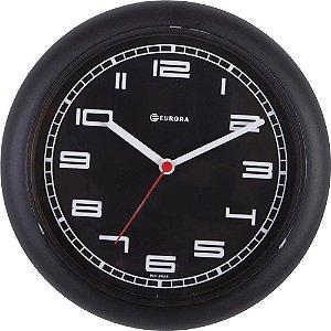 Relógio De Parede Eurora Preto Com Mostrador Preto