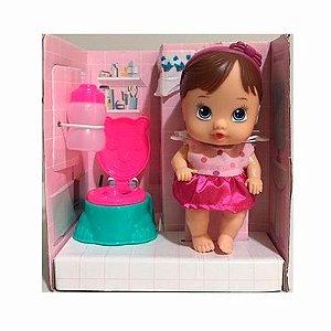 Boneca Little Dolls Faz Xixi Morena - Diver Toys