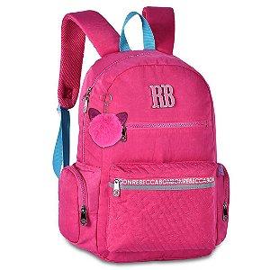 Mochila Escolar Rosa com Alça Azul - Rebecca Bonbon