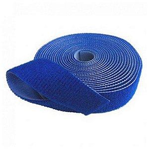 Abracadeira Velcro Dupla Face 20mm Rolo 2,5mts Az