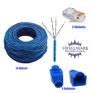 Cabo de Rede CFTV Azul 10M + 5un Conector RJ45 Macho + 5un Capa Azul