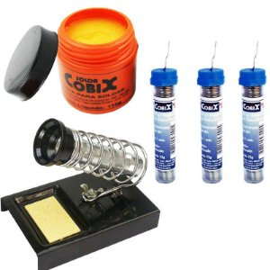 Kit 3 Tubinhos de Solda 1mm + Pasta de Solda + Suporte de Ferro