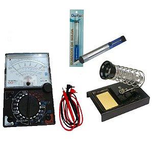 Kit Multímetro analógico YX-360TRNL + Suporte para Ferro de Solda TZSU5 + Sugador de Solda
