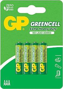 Pilha AAA Zinco Carvão GP Greencell 1,5V Blister 4 Unidades