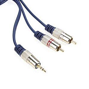 Cabo Audio P2 ST X 2 Rca Profissional Plug Metal 1,80m Alta Qualidade Som AZUL