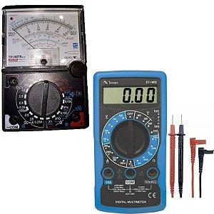 Multímetro Analogico 20m YX-360 TRNL C/ Buzzer e Led  + Multímetro Digital 3.1/2 Dígitos 10A ET-1002 Minipa