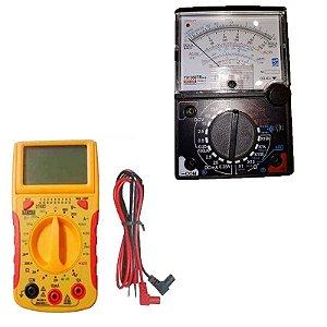 Kit Multímetro Testador Cabos rede RJ45 RJ11 RJ12 + Multímetro Analógico buzzer e led