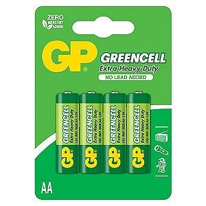 Pilha AA Zinco Carvão GP Greencell 1,5V C/4 Blister 4 Unidades