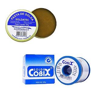Kit Pasta para Soldar Pote 50G Implastec + Carretel de Solda Cobix 500g 1mm