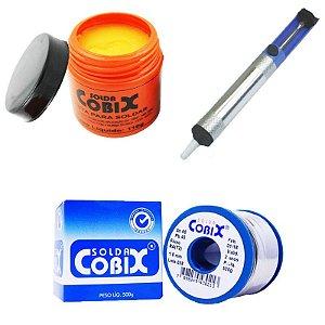 Kit Pasta de Solda 110g + Carretel de Solda Cobix 500g + Sugador de Solda