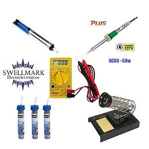 Kit Multimetro Digital XT-573 + Ferro de Solda 50w SC-60 127V + 3 Tubinhos de Solda + Sugador de Solda + Suporte