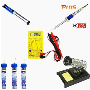 Multimetro Digital XT-573 + Ferro de Solda 34w SC-40 220v + Sugador de Solda + 3 Tubinhos de Solda + Suporte