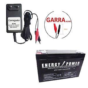 Kit bateria Selada 6V 12AH + Carregador de Baterias 6V 800mAh