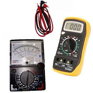 Kit Multímetro Analógico 20m YX-360 TRNL C/ Buzzer + Multímetro Digital com Sensor de Temperatura e Beep MAS838