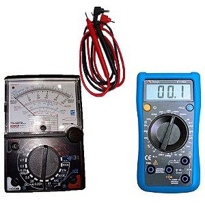 Kit Multimetro Analogico 20m YX-360 C/ buzzer e led + Multimetro Digital 3. ET-1100a catll 600v Minipa