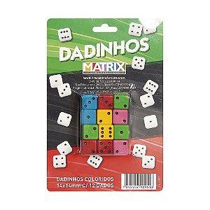 Dadinhos Coloridos 14mm X 14mm - cartela com 12 dados