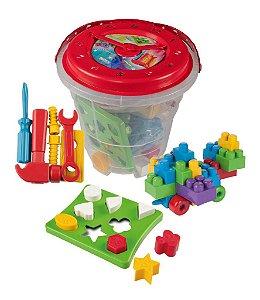 Balde Big Educativo com relógio, blocos, ferramentas e figuras geométricas