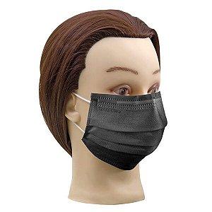 1 cx Máscara preta descartável não tecido com elástico Santa clara ref 5019 (caixa com 25un de máscara)