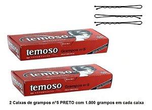 Grampo Temoso Nº5 Preto - Teimoso - 2 caixas com 1.000 grampos n° 5 PRETO em cada caixa