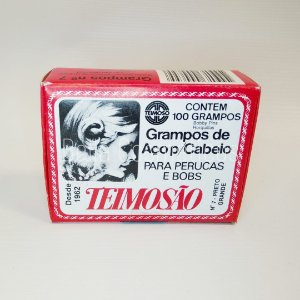 Grampos Teimosão de Aço p/ Cabelo nº7 Preto c/ 100 unidades