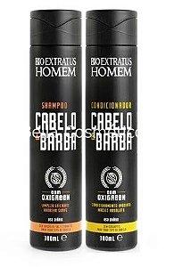 Kit Shampoo e Condicionador Cabelo e Barba Bio Extratus - 600mL