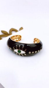 Bracelete Folheado 18k Esmaltado Preto com Olho Grego
